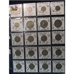 292. (20) Great Britain Coins in a page, all different dates or denominations. KM value $7.95.