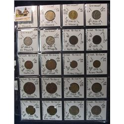 293. World Coins, 20 in page, all identified and from Germany & Great Britain. KM value $17.60.