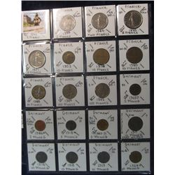 294. World Coins, 20 in page, all identified and from France & Germany. KM value $17.60.