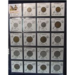 295. France Coins, 20 in page, all identified and different dates and denominations. KM value $15.80