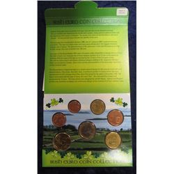 302.  Irish Euro Coin Collection, contains 7 different denominations of 2002 Irish BU Euro coins fro