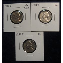 311.  (3) BU Jefferson Nickels – 1957-D, 1958-D & 1959-D