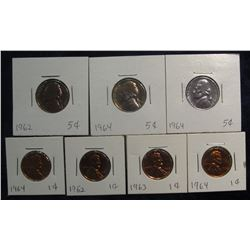 312. Lot of Choice to Gem Proof Coins: 1962, 63, & (2) 64 Lincoln Cents; & 1962 & (2) 64 Jefferson N
