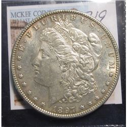 319. 1897 Morgan Silver Dollar, BU light toning reverse.