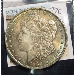 320. 1888 Morgan Silver Dollar, AU toned
