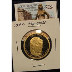 "326. 2009 S Proof 65+ John Tyler ""Golden"" Presidential Dollar."