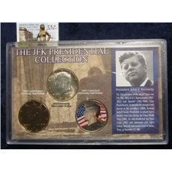 "332. ""The JFK Presidential Collection"" 2003 P 24-Kt Gold-plated Kennedy Half; 1964 P BU 90% Silver K"