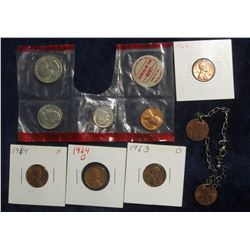 349. 1968 D Cent, Nickel, Dime & Quarter in Mint cellophane; Silver Bracelet with Lincoln Cent Charm