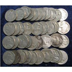 350. (39) Buffalos (the majority have readable dates) & 1949 D Jefferson Nickel F-12.