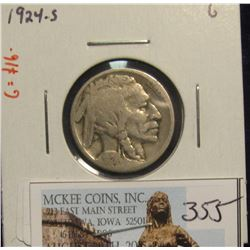 355. 1924 S Buffalo Nickel. G-4. Redbook value $16.00.