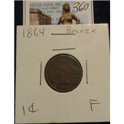 360. 1864 Bronze Indian Head Cent. F-12.