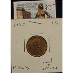 365. 1920 P  Lincoln Cent. CH BU 63 Red and Brown.