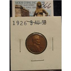 366. 1926 S  Lincoln Cent. Choice AU.