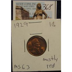 368. 1929 P Lincoln Cent. CH BU mostly red.