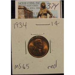 374. 1934 P Lincoln Cent. Gem BU 65 red.