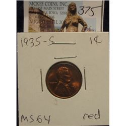 375. 1935 S Lincoln Cent. Gem BU 64 red.