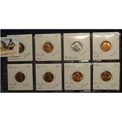 376. Lot of (8) Lincoln Cents 1909 P VDB-54S grading MS 63 to MS 65. Most red. Priced to sell for $5
