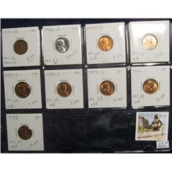 377. Lot of (9) Lincoln Cents 1934 D - 1958 grading MS 60 to MS 65. Most red. Priced to sell for $63