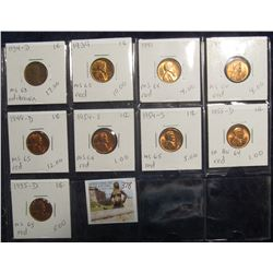 378. Lot of (9) Lincoln Cents 1934 D - 1955 D grading MS 63 to MS 65. Most red. Priced to sell for $