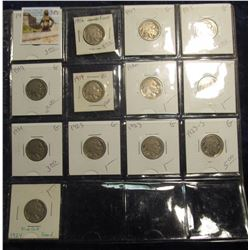 382. Lot of (13) Buffalo Nickels 1916-1924 grading G-F priced to sell for $38.00.