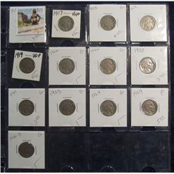 383. Lot of (13) Buffalo Nickels 1917-1928 grading G-F priced to sell for $38.00.