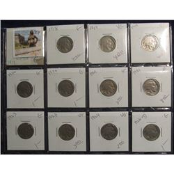 384. Lot of (12) Buffalo Nickels 1917-1928 grading G-VG priced to sell for $42.00.