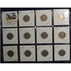 385. Lot of (12) Buffalo Nickels 1917-1928 grading G-F priced to sell for $36.00.