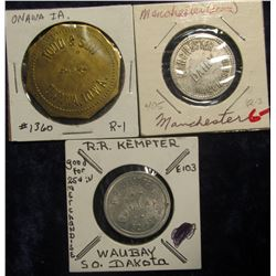 "396. ""R.R. Kempter/Waubay,/So.Dak."", ""Good For/25c/In/Merchandise"", E103, al., rd., 26mm; ""Todd & So"