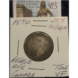 403. 1870 Silver 25C Canada Toned VF Rotated Reverse