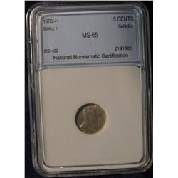 415. 1902H{Small H} Silver 5C Canada NNC 65 #2191422 Scarce Variety
