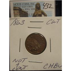 "432. 1863 CWT ""Not 1Cent"" CH.BU"