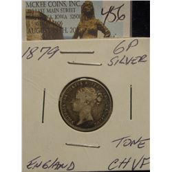 456. 1879 6P Silver England Toned CH.VF