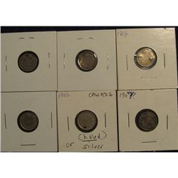 461. 1902, 07, 10, 13, 17, & 18 Canada Five Cent Silver.  All either damaged or holed.