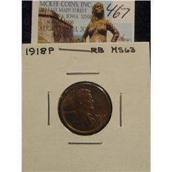 467. 1918 P Lincoln Cent. Red & Brown Unc MS 63.