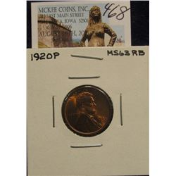 468. 1920 P Lincoln Cent. Mostly Red MS 63
