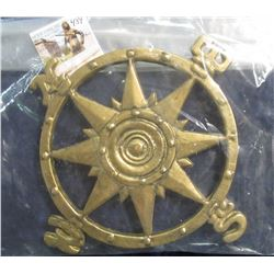 484. Solid Brass Hot Plate designed like a Mariner's Compass.