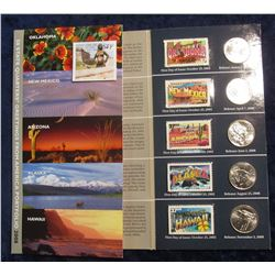 "564. Five-Piece 2008 Statehood Quarter Set with ""Greetings From…"" .37c Mint U.S.P.S. stamps in a fol"
