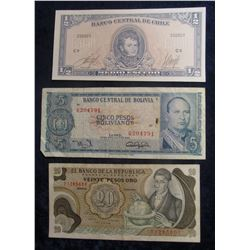 566. 20 Peso Banknote 20 Peso; Five Pesos Bolivia Bank note; & Chile Bank Note 1/2 Escudo.