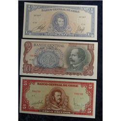 567. 1/2 Escudo, 5 Escudo, & 10 Escudo Central Bank of Chile Bank Notes. All Crisp Uncirculated.