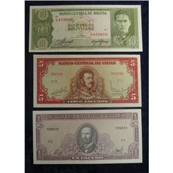 568. 1, 5, & 10 Escudo Central Bank of Chile Bank Notes. All Crisp Uncirculated.