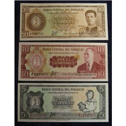 569. 5, 10, & 50  Guaranies Central Bank of Paraguay Bank Notes. All Crisp Uncirculated.
