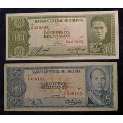 570. 5 & 10 Pesos Bolivianos Central Bank of Bolivia Bank Notes. EF-AU.