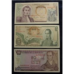 571. 5, 10, & 50 Pesos Oro Bank of the Republic of Colombia. Crisp Unc.