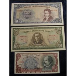 572. 10, 50, & 100 Escudos Central Bank of Chile Bank Notes. EF to CU.
