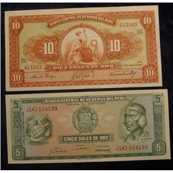 573. 5 & 10 Soles de Oro Central Reserve Bank of Peru Bank notes. Crisp Unc.