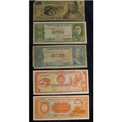 575. 1972 Mexico Five Peso Bank note; 5 & 10 Pesos Bolivianos Central Bank of Bolivia Bank Notes; Ce