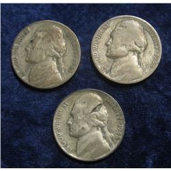 576. 1943 S, 44 P, & 45 P (the latter has a very interesting planchet flaw on Jefferson's head) Silv