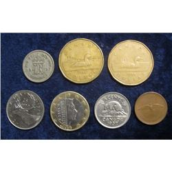 577. $2.31 face Canada Change; 1937 Great Britain Silver Six Pence; & 2002 Letzebuerg Euro Dollar.