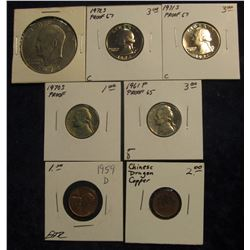 579. 1959 D Lincoln Cent AU-BU; Chinese Copper Dragon Coin; 1961 P Proof 65 Jefferson Nickel; 1970S