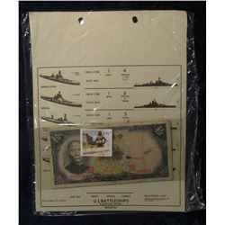 "595. June, 1943 1943 ""Restricted"" Sheet illustrating ""U.S. Battleship""  & a 1941 Central Bank of Chi"
